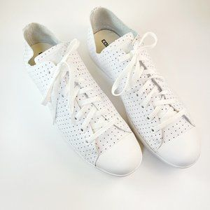 CONVERSE WHITE PERFORATED LEATHER LACE UP SNEAKER